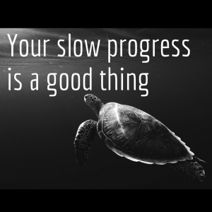 Your slow progress is a good thing
