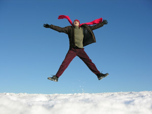 fly jump happy man. winter.